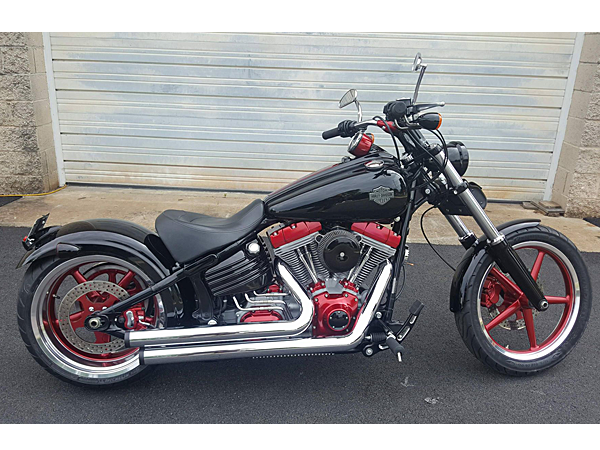 Custom, Black and Red, Harley-Davidson Motorcycle Build
